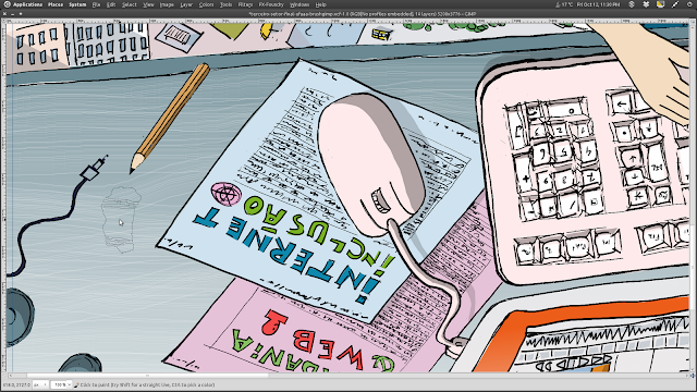 """Detalhe da ilustração """"Terceiro Setor"""" com a texturização da escrivaninha com um pincel estático do Gimp..."""