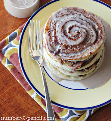 cinnamon roll, pancakes, recipe, maple syrup, glaze, cooking