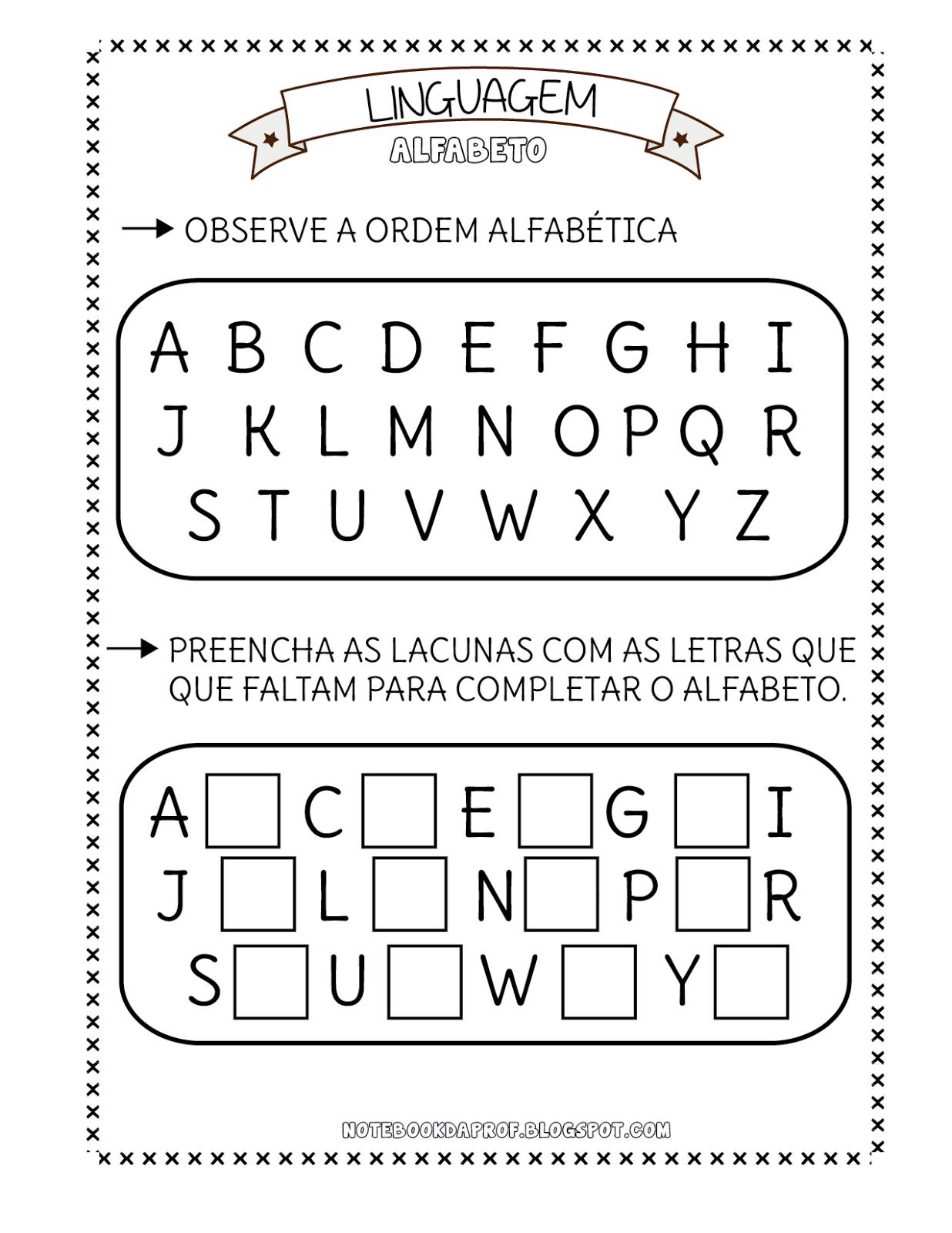 Excepcional Notebook da Profª: Atividades Alfabeto MX53