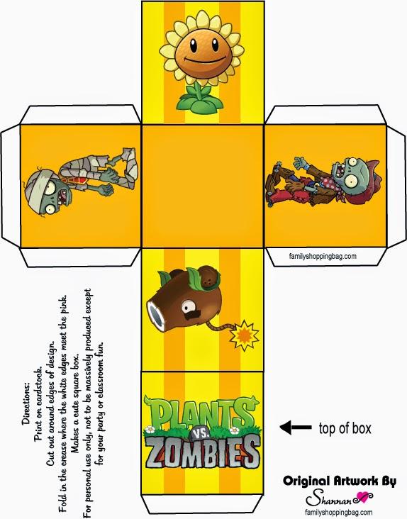 Plants vs Zombies Free Printable Cube Box .