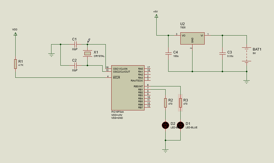 Microcontroller Schematic Design and Simulation