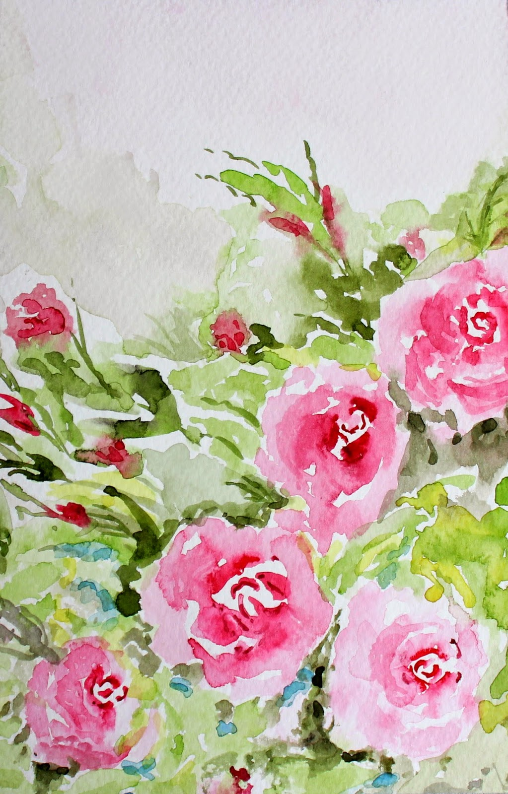 roses, spring, pink, art, watercolor, painting