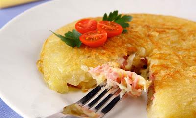 Receita de Batata recheada com presunto e queijo