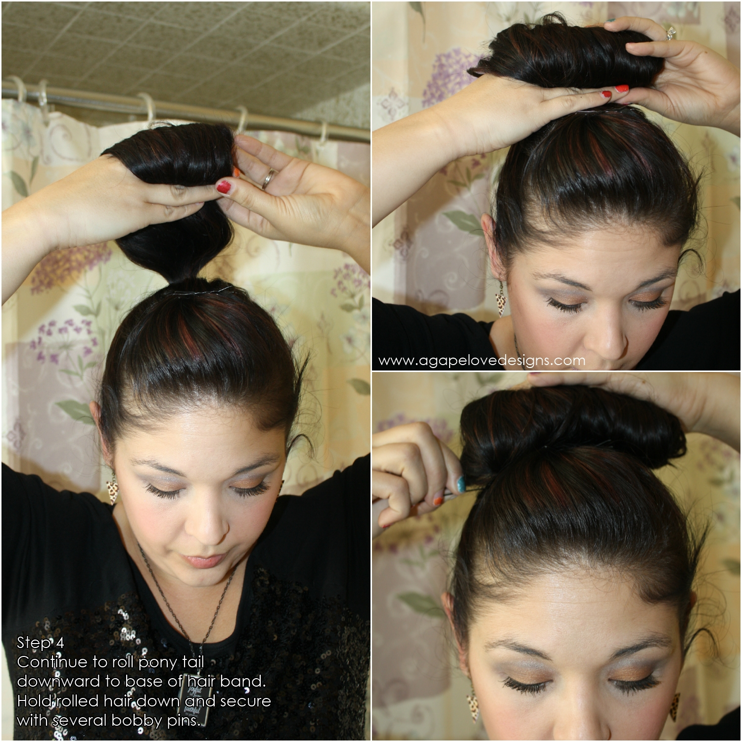 Agape love designs cinderella inspired hair tutorial step 5 once the roll is secure pull at the back of the pony to make it tighter and more secure then you can add a bow to the back to cover the hair baditri Gallery