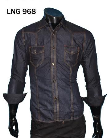 Jual Kemeja Soft Jeans Lengan Panjang – LNG 968