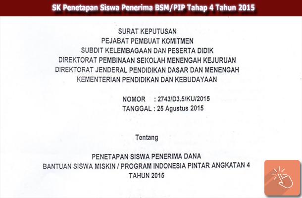 SK Penetapan Siswa Penerima BSM/PIP Tahap 4 Tahun 2015