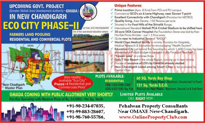 gmada ecocity phase-2 mullanpur new-chandigarh, plots, sco, bayshop land-pooling