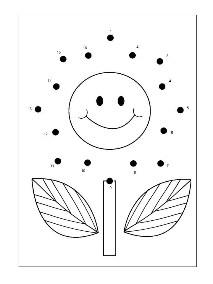Aktiviti menyambung titik titik nombor menjadi gambar bunga.
