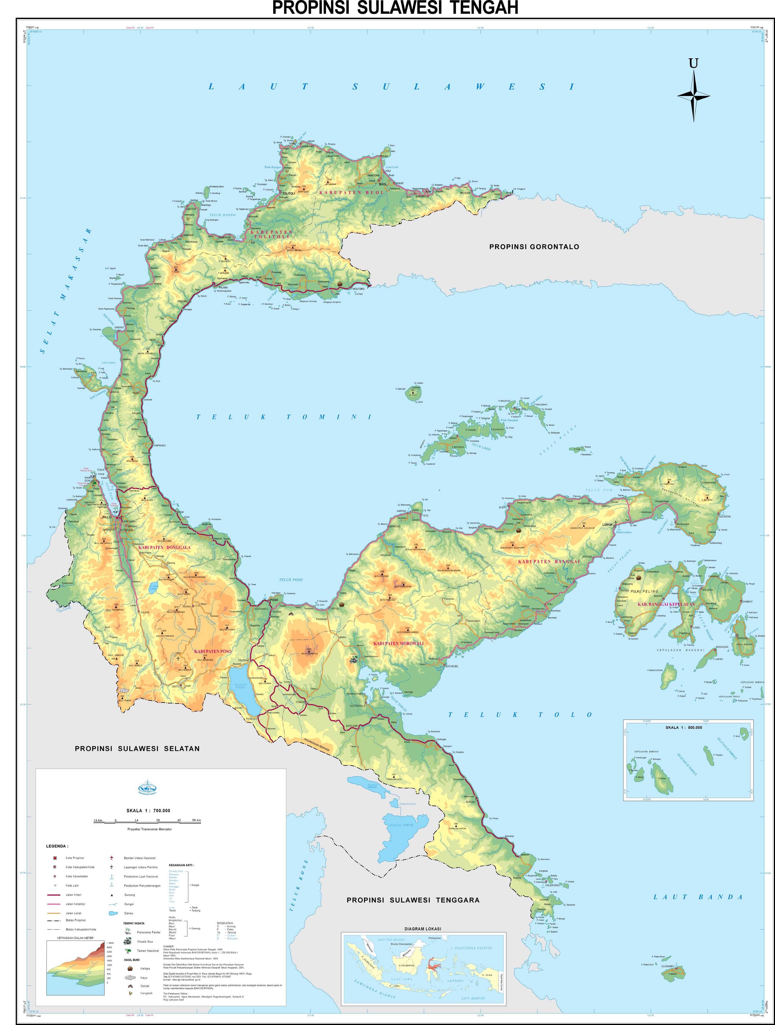 peta kota peta provinsi sulawesi tengah