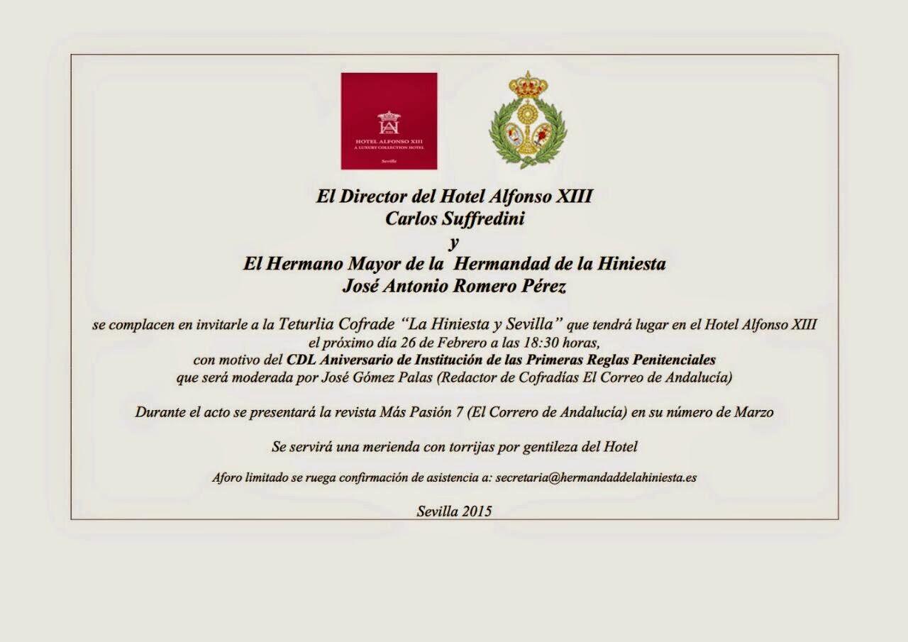 """Tertulia cofrade """"La Hiniesta y Sevilla"""""""