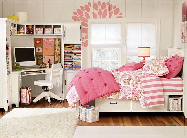 принт деревья в романтичном розовом дизайне комнаты для подростка девочки фото