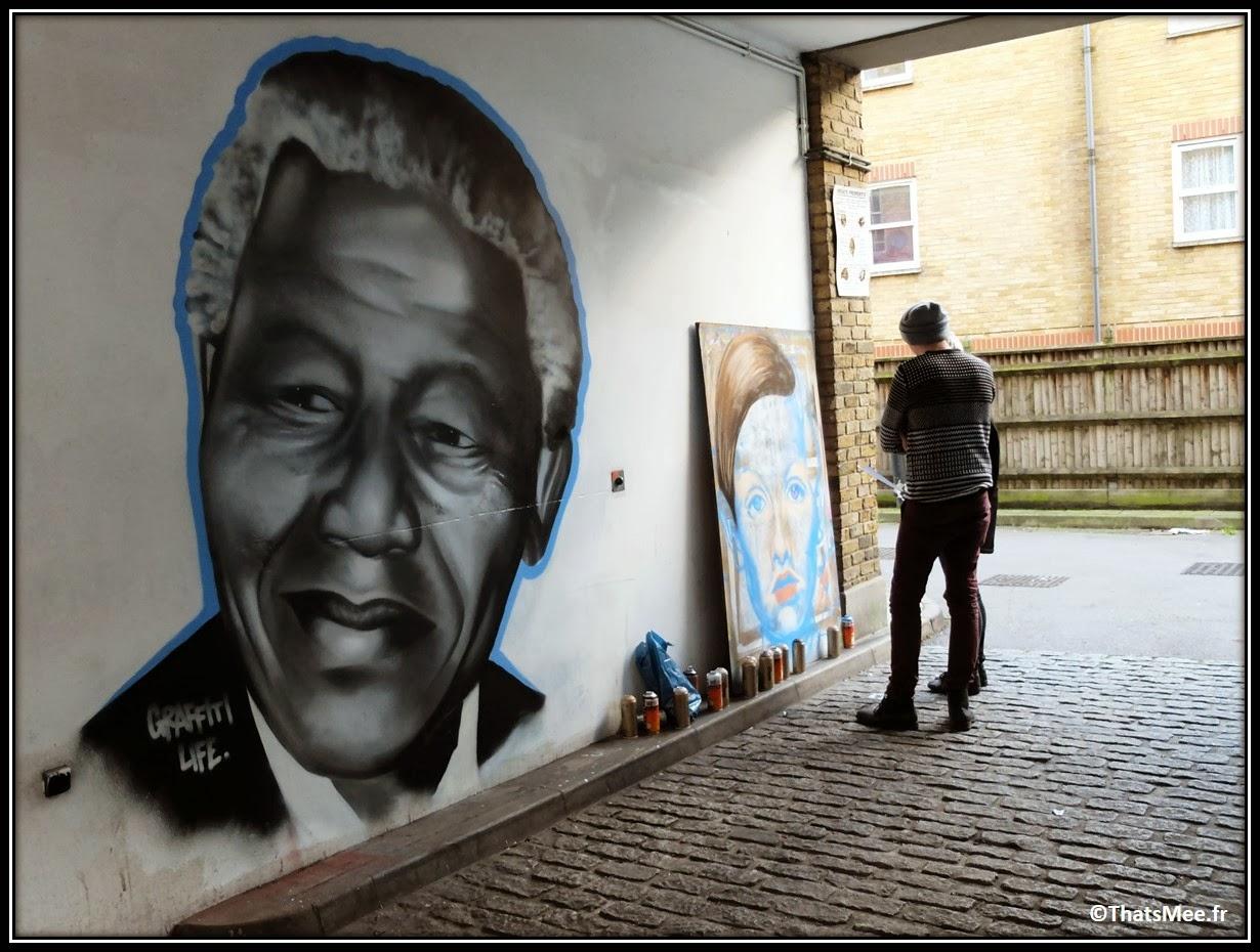 Street Art Londres Shoredicth East London Brick Lane Nelson Mandela Madiba hommage