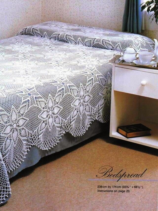 Manta para cama al crochet en fino diseño