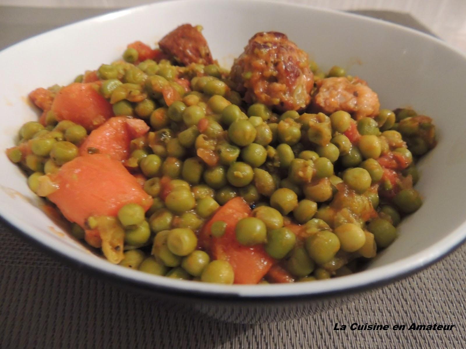 La cuisine en amateur de maryline petits pois chorizo for Petit pois cuisine