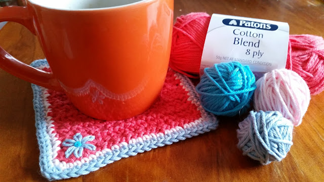 embroidered crochet coaster
