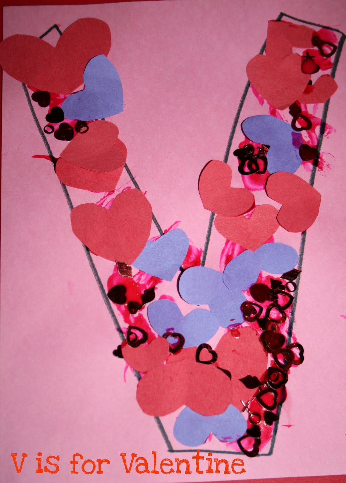 Preschool crafts for kids v is for valentine preschool craft for Valentines crafts for kindergarten