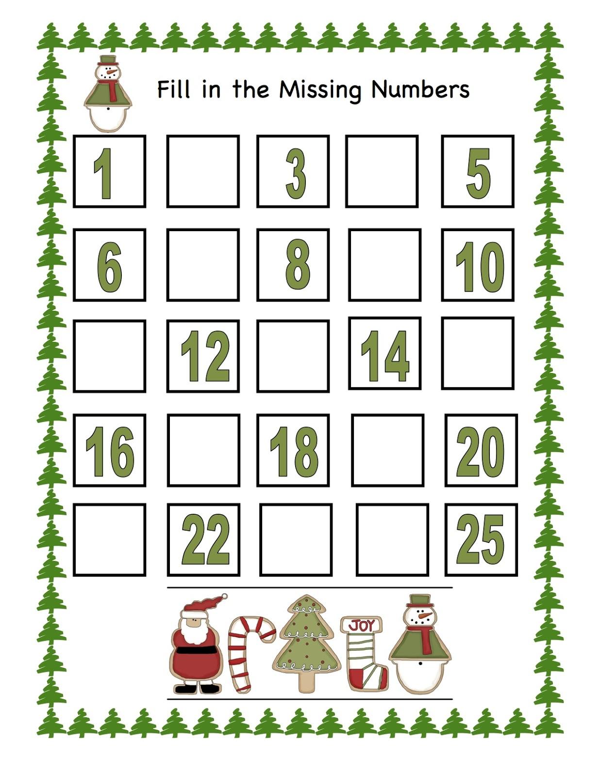 ... 25 Related Keywords & Suggestions - Printable Christmas Numbers 1 25