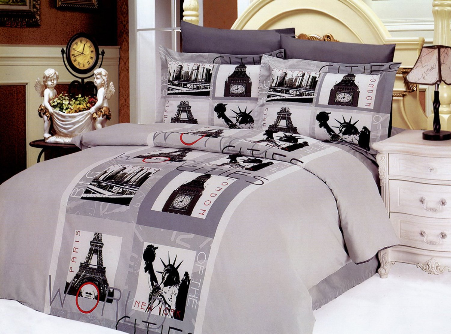 Total fab paris london new york bedding a world of big for City themed bedroom ideas
