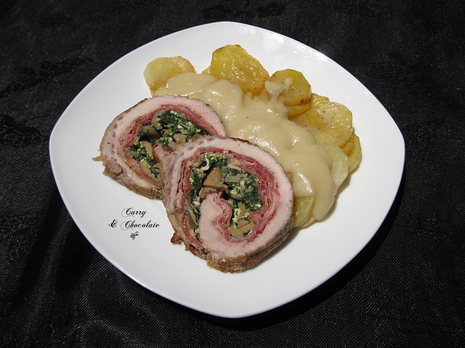 Lomo de cerdo asado y relleno para Navidad, versión con espinacas