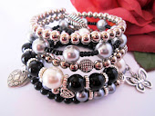Black and Silver Charm Stacked Bracelet