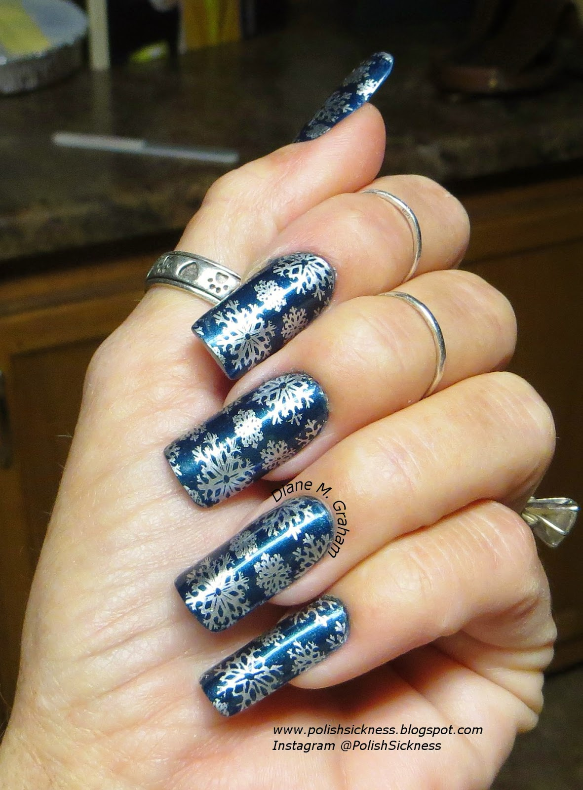 China Glaze Rodeo Fanatic, Essie No Place Like Chrome, LeaLac LLC-A snowflake stamp