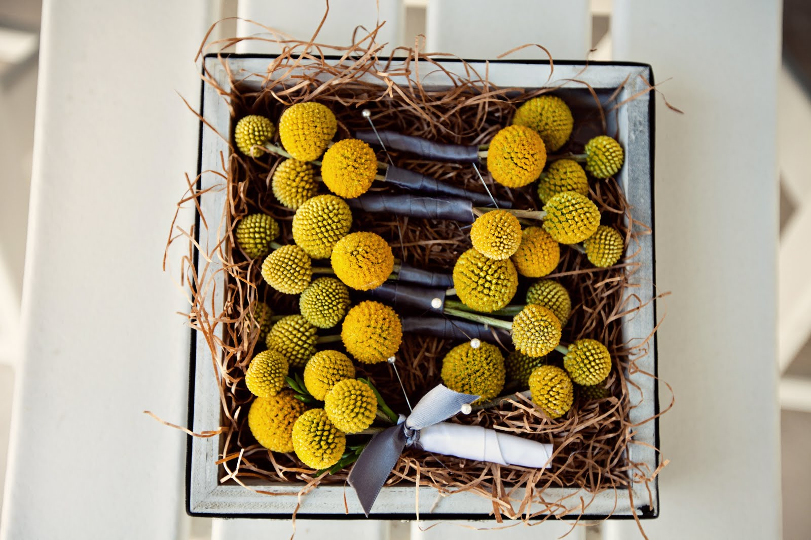 Yellow and Grey Modern Beach Wedding with Rustic and Metallic Accents