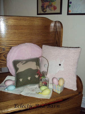 Eclectic Red Barn: Easter display of bunny pillows and other accessories