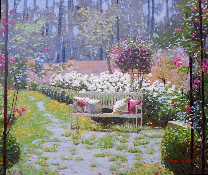 banco de jardim poesia: Jardim 50×60 – pintura de RAQUEL TARABORELLI – Poesia de ROBERTO