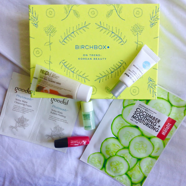 beauty, Birchbox, Memebox, korean cosmetics, korean makeup, korean skin care, RE:P, face mask, facial mask, IPKN, primer, TONYMOLY, lip tint, Manefit, cucumber, moisturizing mask, Goodal, essence, bubble peeling