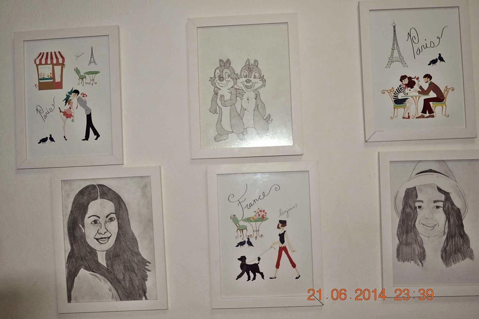 molduras com desenhos na parede