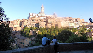 Young engaged couple enjoying the view of Siena.  We'll send them the photo.