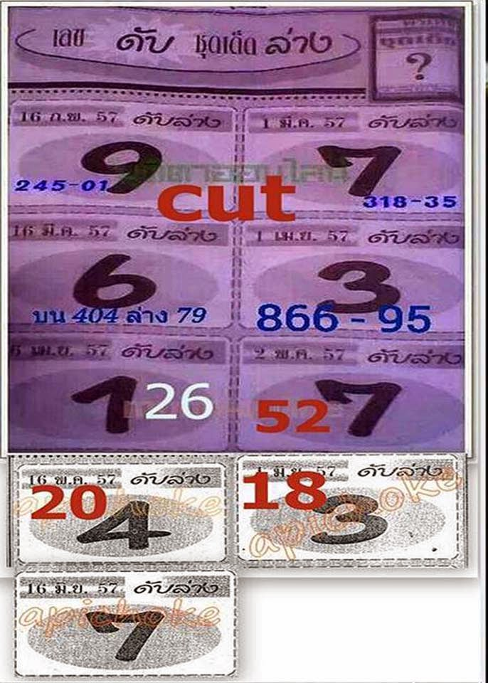 Thai Lottery VIP Tips | Thai Lottery Down Cut Digit 16-06-2014