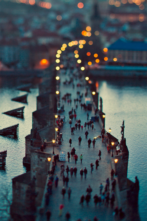 photo travel inspiration - bridge at dusk - Prague