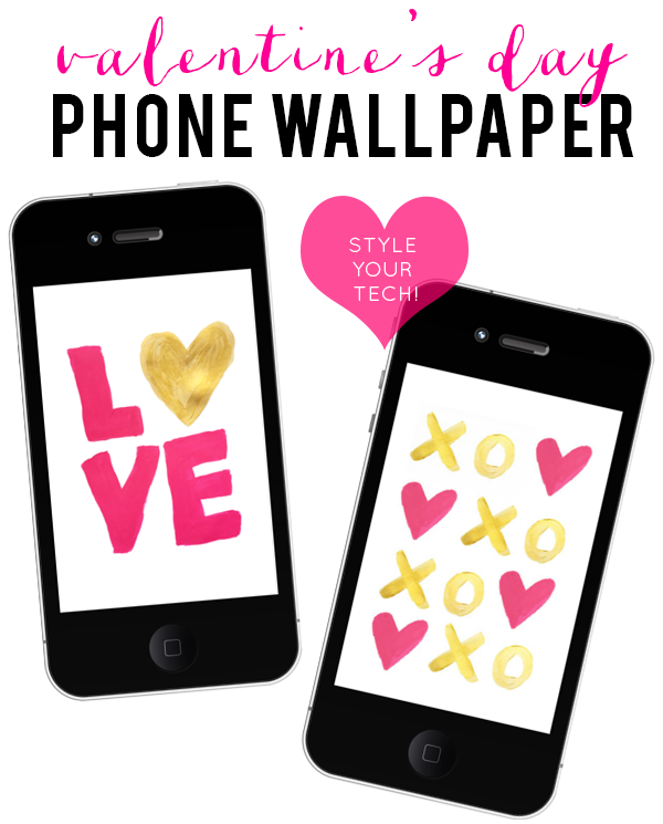 Valentine's Day Painted Phone Wallpaper & Printables