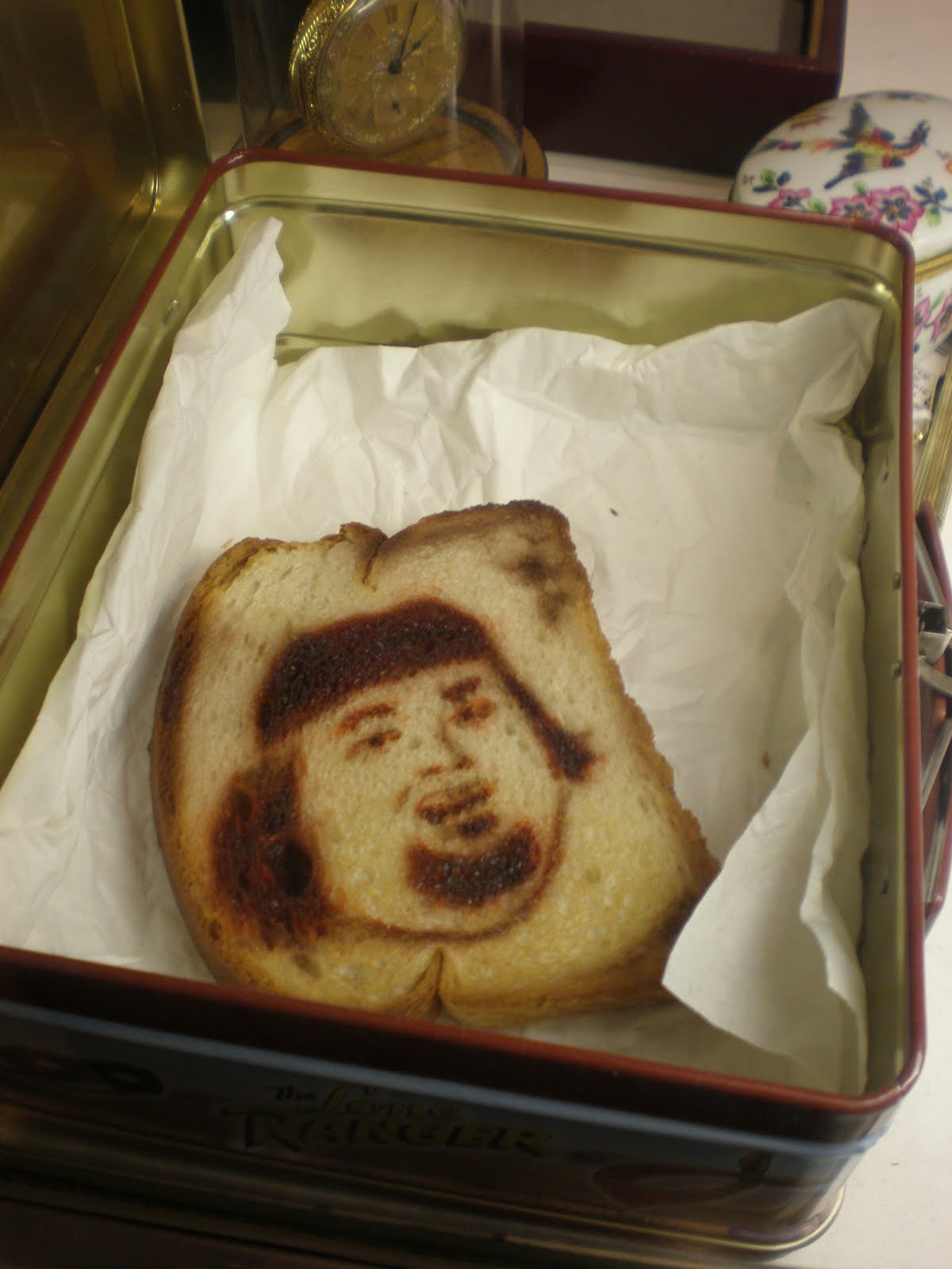 Burnt toast that looks like Chumley.