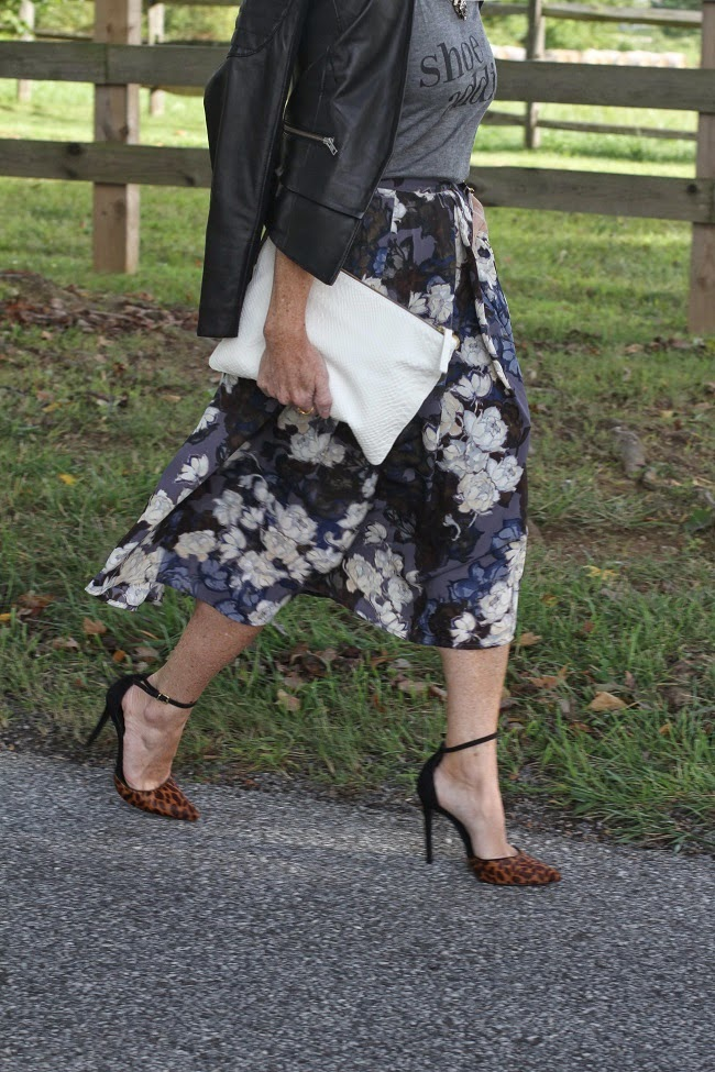 halogen leather jacket, ILY graphic tee, eighty-six floral skirt, schutz heels, clare v clutch