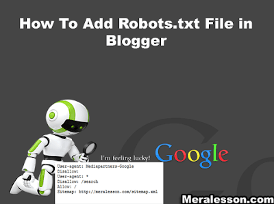 How To Add Robots.txt file in blogger