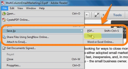 save pdf as text