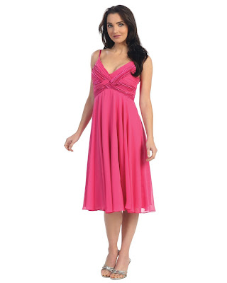 Ladies Fuchsia Pink Satin cocktail Dress