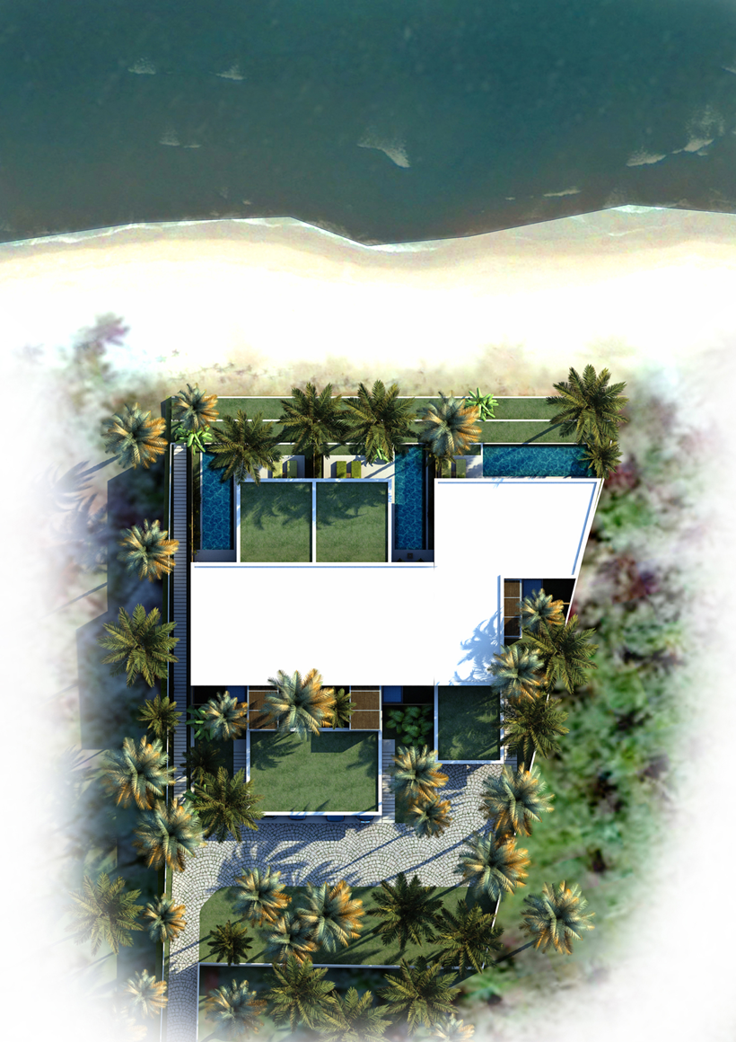 Drawing of modern beach house from the air
