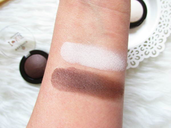 swatches essence I ♥ NUDE eyeshadows - 06 coffee bean & 01 vanilla sugar