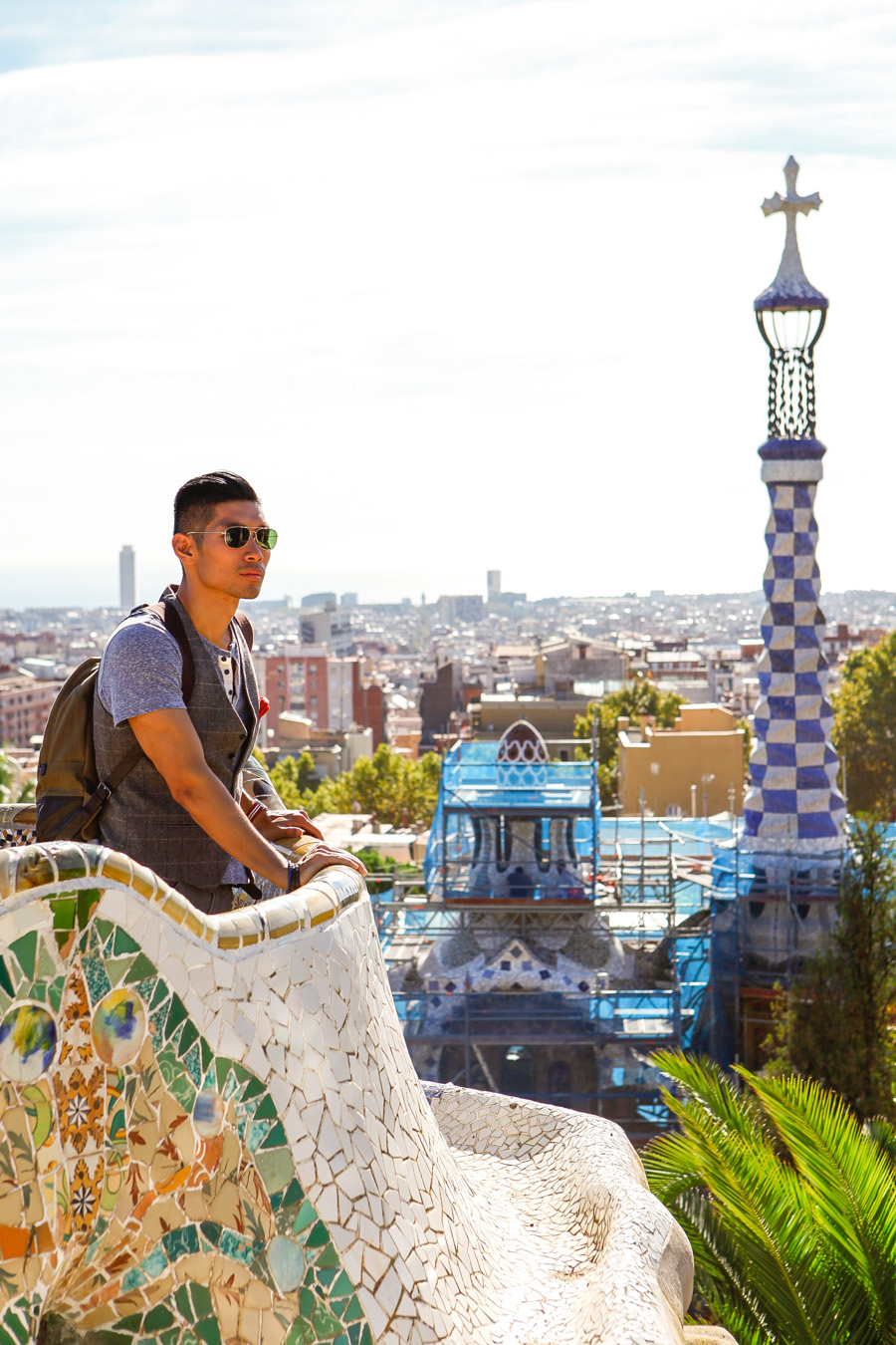 Levitate Style, Levitate Travel, Barcelona, Spain, Park Guell, menswear, sharp casual, travel look, Leo Chan, Alicia Mara
