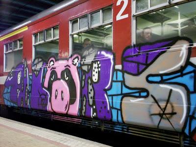 graffiti sad pig