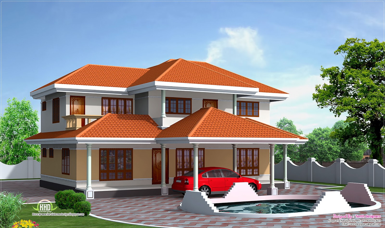 Four bedroom house elevation in 2500 sq feet home for 4 bedroom kerala house plans and elevations