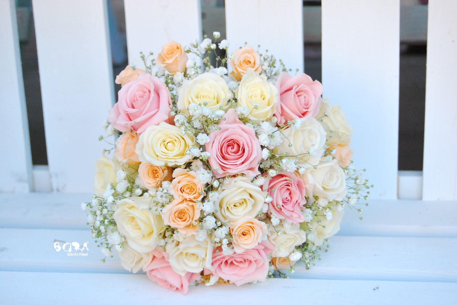 Bora dise o floral ramo de novia de rosas preservadas - Ramos de calas para novias ...