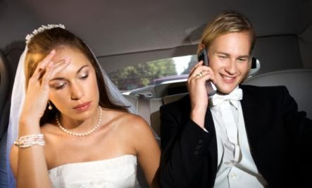 busy man ignore woman bride groom - Why Your Cell Phone Is Bad for Your Relationship
