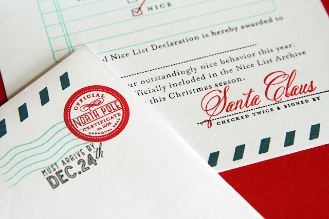 "To make a ""Nice List Declaration"" certificate, I cut an A2 card size ..."