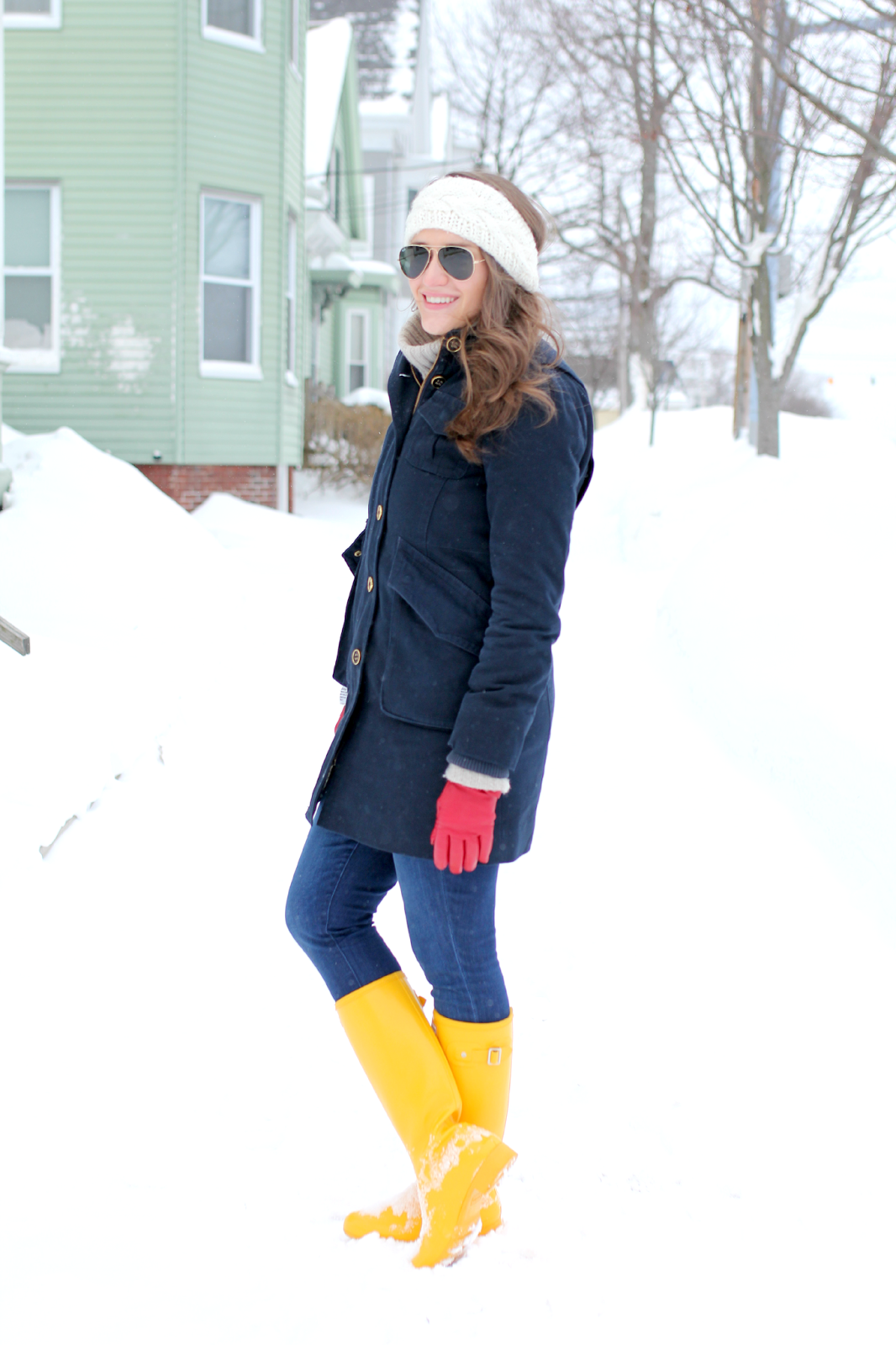 Yellow hunter rain boots covering the bases fashion