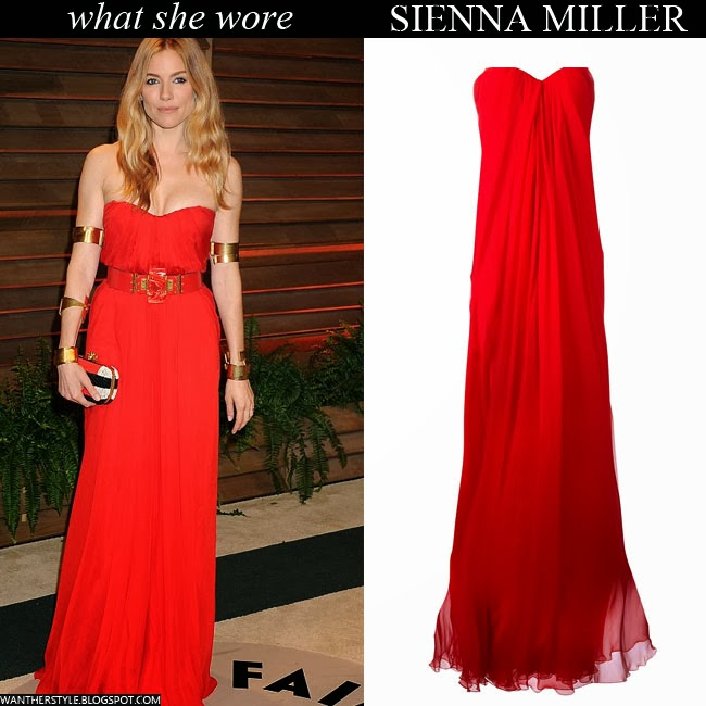 Sienna Miller in red belted strapless gown Alexander Mcqueen Want Her Style 2014 Oscars