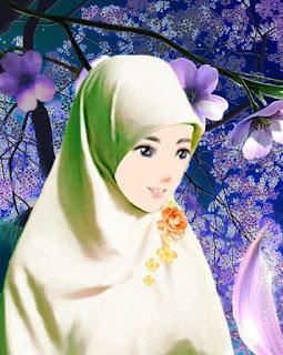 Gambar wanita muslimah cantik berhijab sedih gratis